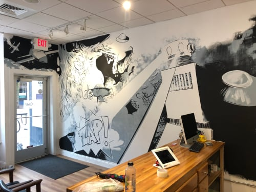 Murals by Mike Lroy seen at Rocket Computer and Cell Phone Repair, Madison - Indoor Mural