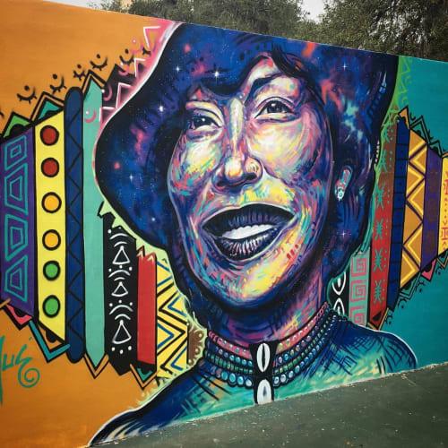 Street Murals by German Lemus seen at Elizabeth Park, Eatonville - Zora Neale Hurston Mural