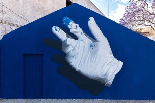 "Street Murals by Nuno Viegas seen at Rua do Castelo, Faro - ""Glove x Fat Cap II"""