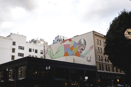 Street Murals by Paige Wright seen at Southwest Harvey Milk Street, Portland - 'Falling with Your Mouth Open'