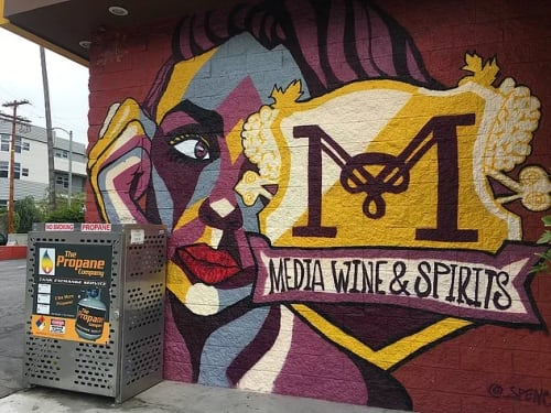 Murals by Spencer McCarty seen at Media Wine & Spirits #2, Los Angeles - Media Wine & Spirits Mural
