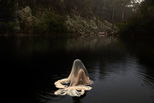 Photography by Lilli Waters seen at Craig's Royal Hotel, Ballarat East - Woman figure in lake