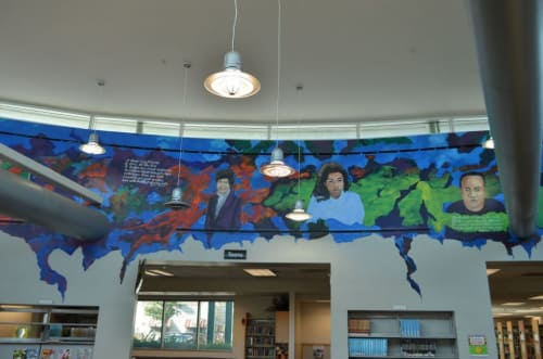 Murals by Michael Massenburg at Mark Twain Library, Los Angeles - Reading to Learn Knowledge