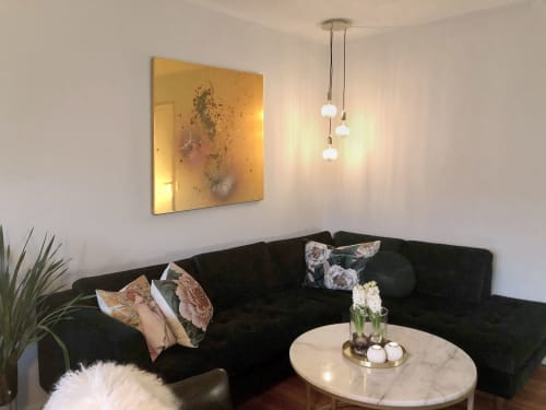 Paintings by Mikkel Carl seen at Private Residence, Copenhagen - Gold mirror foil painting