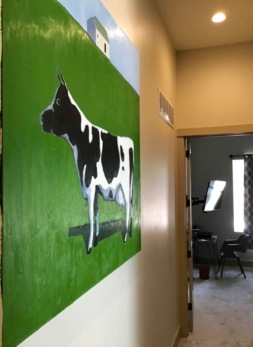 Paintings by Scott Redden seen at Private Residence, Salida - 'The Cow' original oil painting by Scott Redden
