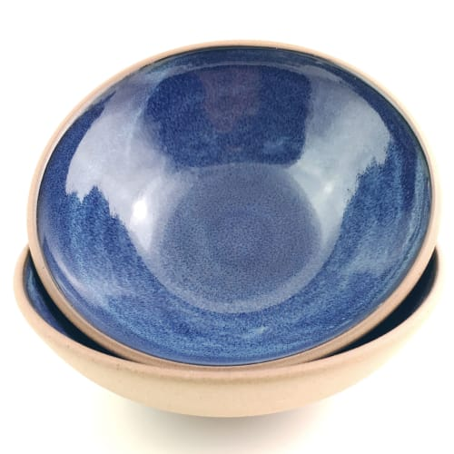 Stoneware Shallow Serving Bowls | Tableware by Tina Fossella Pottery