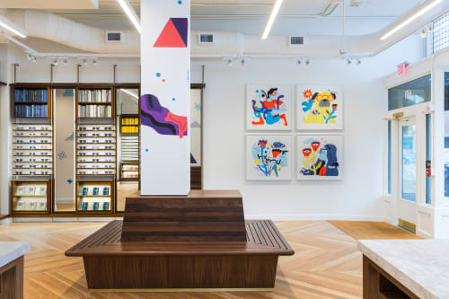 Murals by Andy J. Pizza seen at Warby Parker Columbus, Columbus - See The Invisible