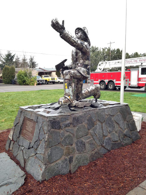Sculptures by Brian Mock seen at Silverton Fire District - Scotts Mill Station, Scotts Mills - Firefighter