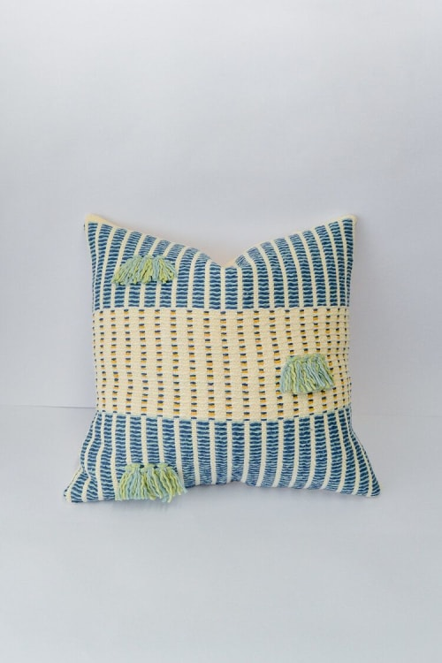 Pillows by Zuahaza by Tatiana seen at Private Residence - Salento Pillow Indigo and Seaglass