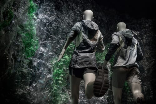 Public Sculptures by Shiho Minami seen at Isetan Men's, Shinjuku City - Represent Rocks with Plastic Botttles