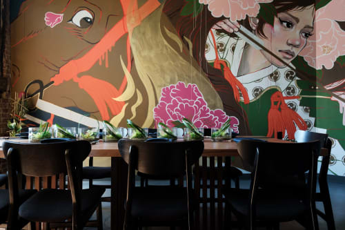 Murals by JUURI seen at Gun Izakaya, Oklahoma City - Japanese Samurai Female Mural: Interior Drywall