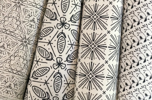 Linens & Bedding by Maple Jude & Co. seen at Santa Monica, Santa Monica - A few of our textile patterns in our signature black and white colorway