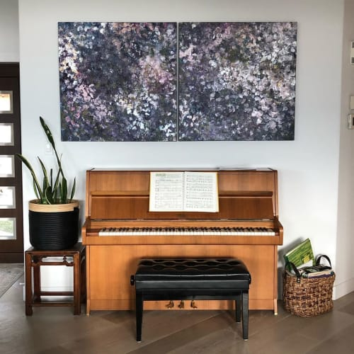 "Paintings by Noëlle Nadeau Khoo seen at Private Residence, Vancouver - ""Purple Rain (Three Months of Lilacs)"" Painting"