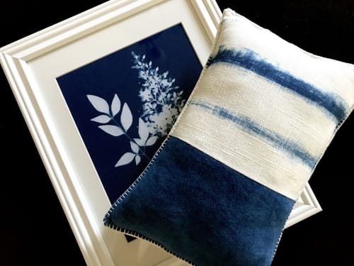 Pillows by KRUPA PARANJAPE seen at Private Residence, Mountain View - Hand dyed Indigo pillow