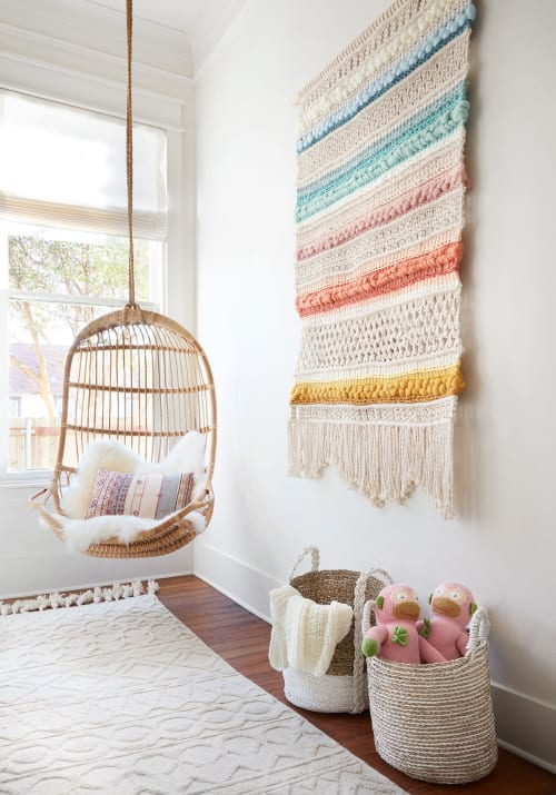 Macrame Wall Hanging by Emily Barton (Barton Craft & Design) seen at Private Residence, Waco - Rainbow Macrame and Weaving Wall Hanging