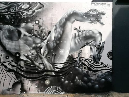 Street Murals by Don Fiya seen at Braamfontein Gate, Johannesburg - Cosmic immersion