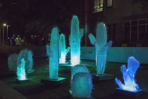 Public Sculptures by Toby Atticus Fraley seen at Arizona Canal Trail, Scottsdale - Luminous Cactus