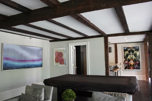 Art & Wall Decor by Andrea Bonfils at Private Residence, Darien - Private collection, Encaustic and oil, mono print and underwater photography (Submerged Garden)
