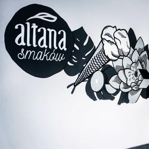 Murals by Aleks Skrok seen at Altana Smaków, Gdańsk - Indoor Mural