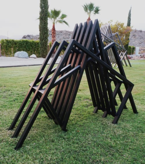 Sculptures by Ryan Campbell seen at Private Residence, Palm Desert - Line Segments form 1 in 2 sizes.