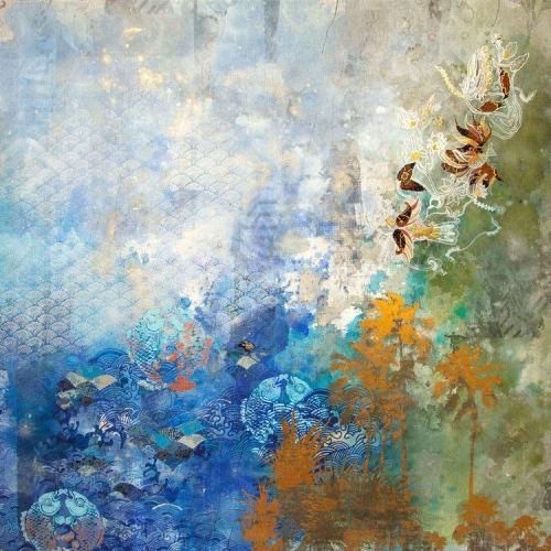 "Paintings by Deborah Mckellar – Talking Textiles seen at Far East Square, Singapore - ""Circle of Life"""