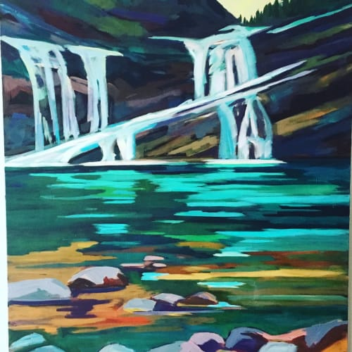 Paintings by Alison Philpotts seen at Elevation Gallery, Canmore - Cameron Falls