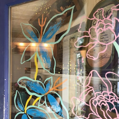 Murals by Rebecca Clarke seen at Bakeri, Brooklyn - Glass Door Mural