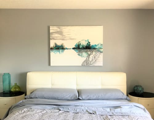 Paintings by Elena Myasnikova seen at Private Residence, Calgary - In the blue heavens