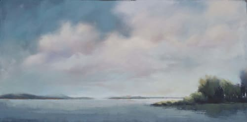Paintings by Carrie Megan at Private Residence, Needham - Blue Harbor View Painting