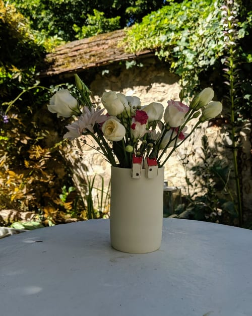 Floral Arrangements by BerangereCeramics seen at Private Residence, Amiens - Porcelain vase with miniature movable houses on its rim