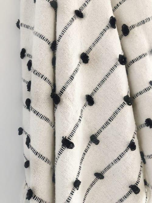 Linens & Bedding by Coastal Boho Studio - Cotton Sea Throw Blanket - Black