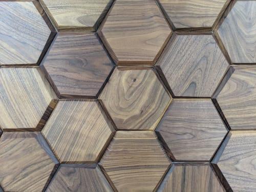 Furniture by Brooke M Davis Design seen at Lone Star Eye, Austin - Lone Star Eye Reception Desk with Hex Wall Pattern