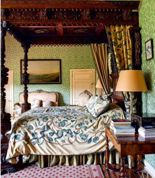 Linens & Bedding by Chelsea Textiles seen at Sudeley Castle, Winchcombe - Blue/Green Jungle Crewelwork