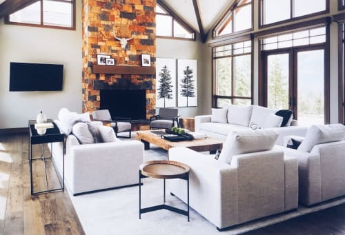 Paintings by Kerry Langlois seen at Private Residence, Canmore - Black Spruce and White Pine