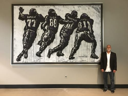 Paintings by An Artist Life seen at 401 Chicago Ave, Minneapolis - NFL Minnesota Vikings Art.  Painting for U.S. Bank Stadium in Minneapolis, Minnesota