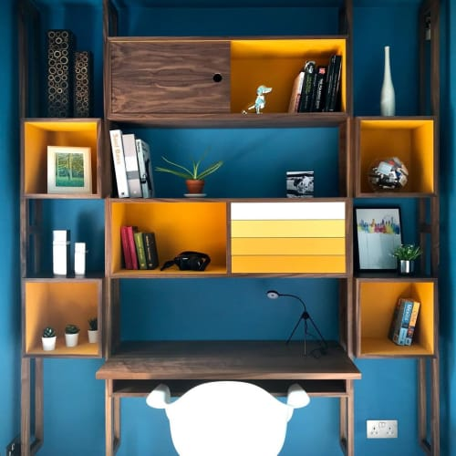 """Furniture by Paul Iaquaniello seen at Private Residence, West Malling - """"Wall Unit / Work Station"""""""