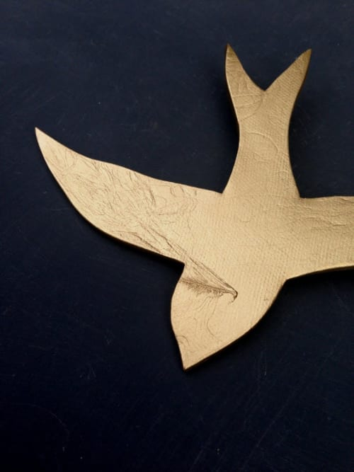 Art & Wall Decor by Elizabeth Prince Ceramics seen at Private Residence, Houston - Swallows - Gold Metallic