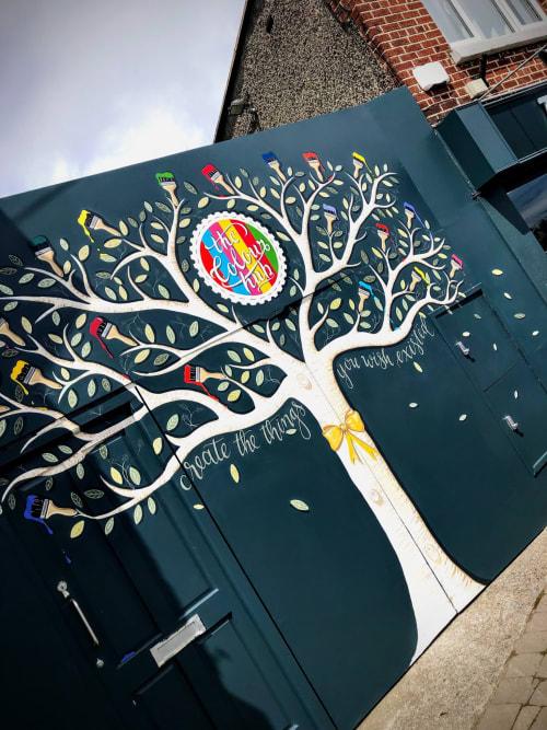 Murals by Joanne Murphy seen at Templeogue Village, Dublin - Paintbrush Tree