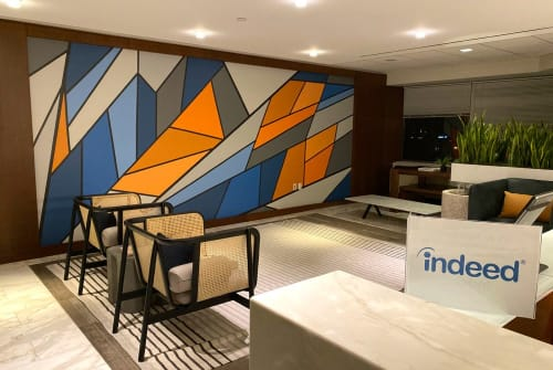 Murals by Toni Miraldi / Mural Envy, LLC seen at Stamford Plaza 4, Stamford - Abstract Mural for Tech Company