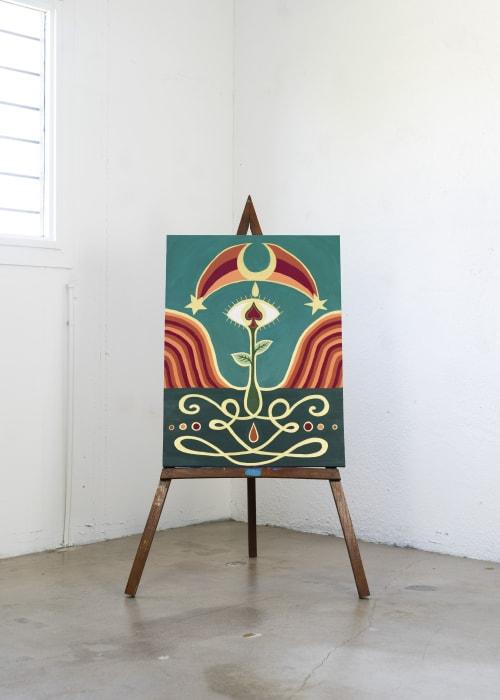 Paintings by Jillian Selene Art seen at Shades of Brown Coffee & Art, Tulsa - The Birth of Spade & Sacral Roses