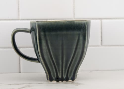 Cups by M.L. Pots seen at Creator's Studio, Borden - Draped Coffee Cup with Nightfall Grey Glaze - 002