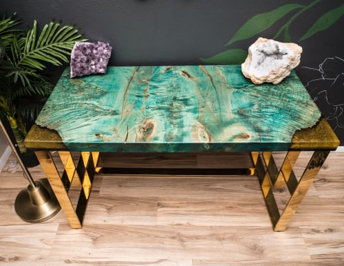 Teal Maple Burl + Gold Brass Executive Lux Desk 24x50 | Tables by Lumberlust Designs