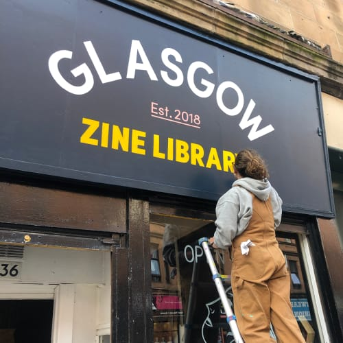 Signage by Rachel E Millar seen at Glasgow, Glasgow - Glasgow Zine Library Signwriting