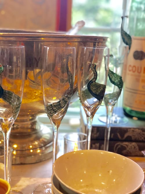 Tableware by Margot Lar Designs seen at San Francisco, San Francisco - Peacock champagne glasses