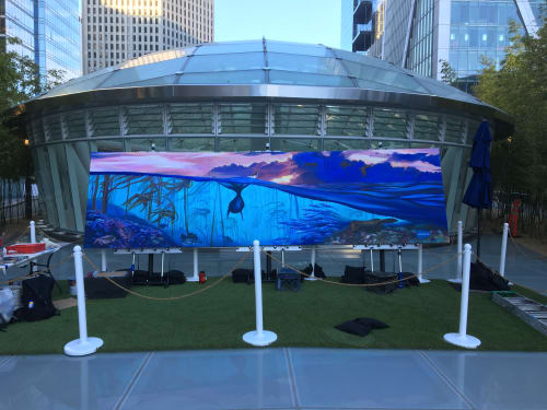 Street Murals by Lindsey Millikan (Milli) seen at Salesforce Transit Center, San Francisco - Rising Waters