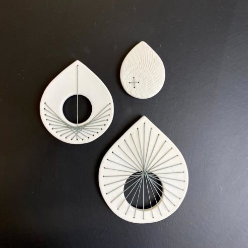 Art & Wall Decor by Elizabeth Prince Ceramics seen at Creator's Studio, Manchester - White & Grey Leaf Stitched Porcelain Ceramic Wall Sculpture