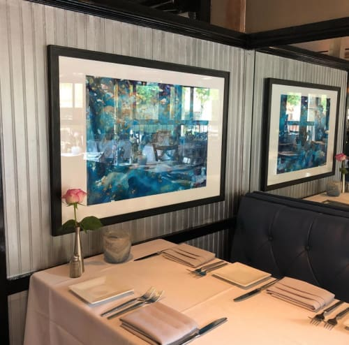 Paintings by Andrea Lamarsaude Fine Art at Avanti Ristorante, Dallas - Très Céleste
