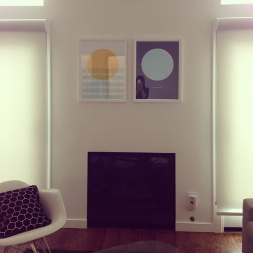 "Paintings by Honey & Bloom seen at Private Residence, San Francisco - ""Sunset by the Seashore"" and ""Moonlight, Bright Night"""