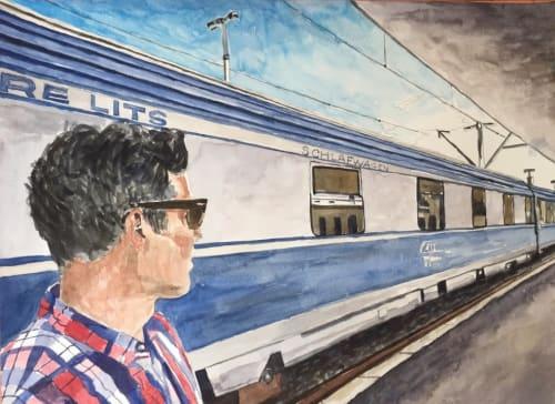 Paintings by Arran Harvey seen at San Francisco, San Francisco - Train Station, Sibiu, 2017, watercolor, 11 x 15 inches