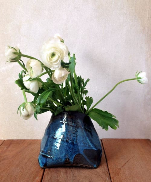 Vases & Vessels by ShellyClayspot seen at Creator's Studio, Kiryat Gat - Blue Textured Flower Vase Small Pottery Vase